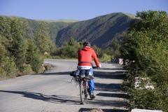 Reise nach Tibet durch Fahrrad Lizenzfreies Stockfoto