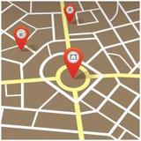 Reise-Navigations-Karte mit Stiften, flache Vektor-Illustration Stockfoto
