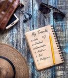 Reise-Papiertagebuch mit Reiseträumen Lizenzfreie Stockbilder