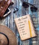 Reise-Papiertagebuch mit Reiseträumen Stockbild