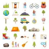 Reise-Rest-Symbol-touristische Zubehör-Ikonen eingestellte flache Design-Schablonen-Vektor-Illustration vektor abbildung
