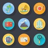 Reise-Tourismus-Ferien-Wochenende Logo World Trip Stockfoto