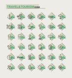 Reise-, Tourismus- und Wetterikonen, Satz 2 Stockbild