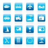 Reise-, Transport-, Tourismus- und Feiertagsikonen Stockfotos