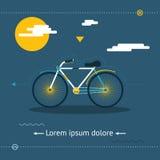 Reise u. gesunder Lebensstil, Symbol-Fahrrad-moderne flache Design-Schablonen-Vektor-Illustration Stockbild