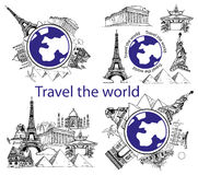 Reise um Welt und Anblick Stockfotos
