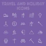 Reise- und Feiertagsikonensatz Lizenzfreies Stockfoto