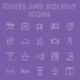 Reise- und Feiertagsikonensatz Lizenzfreie Stockfotografie