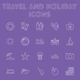 Reise- und Feiertagsikonensatz Lizenzfreie Stockbilder