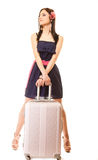 Reise und Ferien Frau mit Koffergepäcktasche Lizenzfreies Stockbild