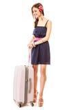 Reise und Ferien Frau mit Koffergepäcktasche Stockbild