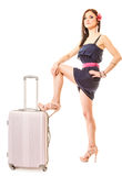 Reise und Ferien Frau mit Koffergepäcktasche Lizenzfreie Stockbilder