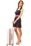 Reise und Ferien Frau mit Koffergepäcktasche Lizenzfreie Stockfotografie