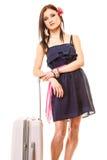Reise und Ferien Frau mit Koffergepäcktasche Stockfotografie