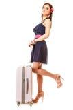 Reise und Ferien Frau mit Koffergepäcktasche Lizenzfreies Stockfoto