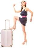 Reise und Ferien Frau mit Koffergepäcktasche Stockbilder