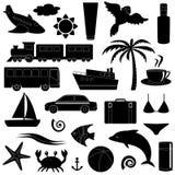 Reise- und Ferienschattenbildikonensatz Stockbilder