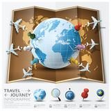 Reise-und Reise-Weltkarte mit Punkt Mark Airplane Route Diag Stockbilder