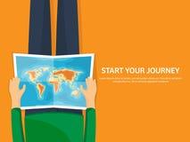Reise und Tourismus Flache Art Welt, Erdkarte und Kugel Reiseausflugreise, Sommerferien Reisende Erforschung lizenzfreie abbildung