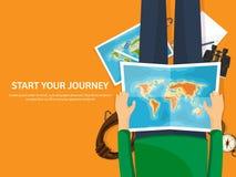 Reise und Tourismus Flache Art Welt, Erdkarte und Kugel Reiseausflugreise, Sommerferien Reisende Erforschung stock abbildung