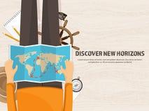Reise und Tourismus Flache Art Welt, Erdkarte und Kugel Reiseausflugreise, Sommerferien Reisende Erforschung vektor abbildung