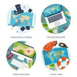 Reise und Tourismus Flache Art Welt, Erdkarte Kugel Reiseausflugreise, Sommerferien Reisende Erforschung vektor abbildung