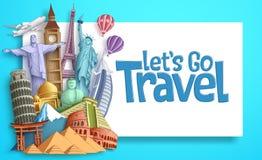 Reise- und Tourismusvektorfahnenschablone mit ließ ` s gehen Reisetext in einem weißen leeren Raum und in berühmten Marksteinen vektor abbildung