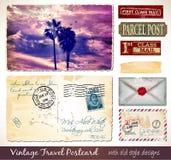 Reise-Weinlese-Postkarten-Design mit antikem Blick Stockfotos