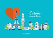 Reise zu Europa für Weihnachten Frohe Weihnachten Lizenzfreies Stockfoto