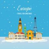 Reise zu Europa für Weihnachten Frohe Weihnachten Lizenzfreie Stockfotos