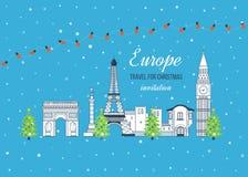 Reise zu Europa für Weihnachten Frohe Weihnachten Stockbild