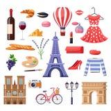 Reise zu Frankreich-Gestaltungselementen Touristische Marksteine Paris, Mode und Lebensmittelillustration Lokalisierte Ikonen des vektor abbildung