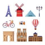 Reise zu Frankreich-Gestaltungselementen Touristische Marksteinillustration Paris Lokalisierte Ikonen des Vektors Karikatur einge lizenzfreie abbildung
