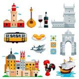 Reise zu Portugal-Ikonen und zu lokalisiertem Gestaltungselementsatz Vektor Symbole der portugiesischer und Lissabon-Kultur, Nahr stock abbildung