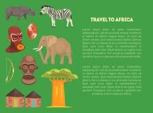 Reise zur Afrika-Fahnen-Schablone mit Werbetext, Artikel oder Informations-Text über afrikanischen Kontinent-Vektor stock abbildung