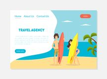 Reisebüro-Fahne, Reiseveranstalter-Landungs-Seiten-Schablone, Sommer-Ferien, tropische Erholungsort-Vektor-Illustration stock abbildung