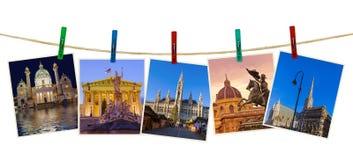 Reisebilder Wiens Österreich meine Fotos auf Wäscheklammern Stockfotos