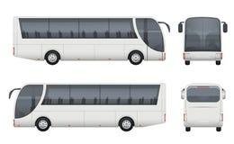 Reisebus realistisch Ansicht-Vektorbilder des Tourismus Autobusmodellfrachtautos stellten Vorderseitee lokalisiert ein lizenzfreie abbildung