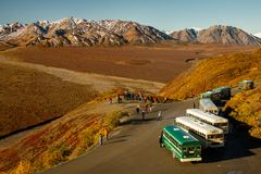 Reisebusse in Denali NP, Alaska, US stockfotografie