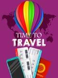 Reisefahnendesign FerienGeschäftsreise-Angebotkonzept Vector touristische Illustration mit Pass, Karte, airballon Reiseba stock abbildung
