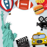 Reisefahnenhintergrund USA Stockfotografie