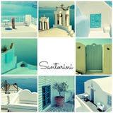 Reisefotocollage mit Detail der griechischen Architektur und des Aegea Lizenzfreies Stockfoto