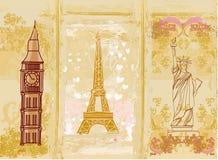 Reisegestaltungselement mit verschiedenen Monumenten Stockfotos