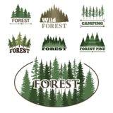 Reisegrünschattenbildwaldausweises des Baums des im Freien übersteigt zapfentragender natürlicher Logoausweis gezierten Vektor de Stockfotografie