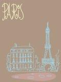 Reisehintergrundpostkarte Paris Lizenzfreie Stockfotos