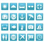 Reiseikonen auf blauen Quadraten Stockfotografie
