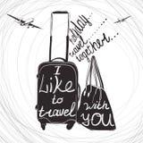 Reiseinspirationszitate auf Kofferschattenbild Weinlesebuchstabe Stockfoto