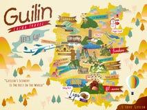 Reisekarte Chinas Guilin stock abbildung