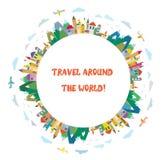 Reisekarte mit Flugzeugen und Bergen Stockfoto