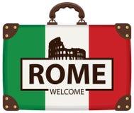 Reisekoffer mit italienischer Flagge und Colosseum vektor abbildung